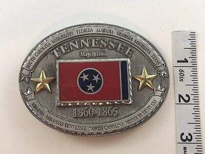 Tennessee belt buckle State History, Metal Flag (Tennessee State Flag History)