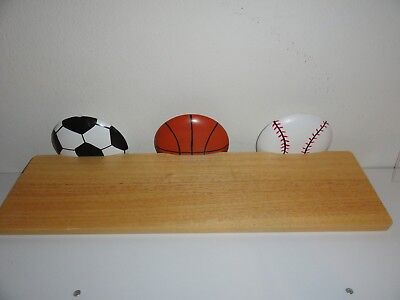 WOODEN SHELF WITH SPORTS BALLS-CUTE FOR BOYS ROOM