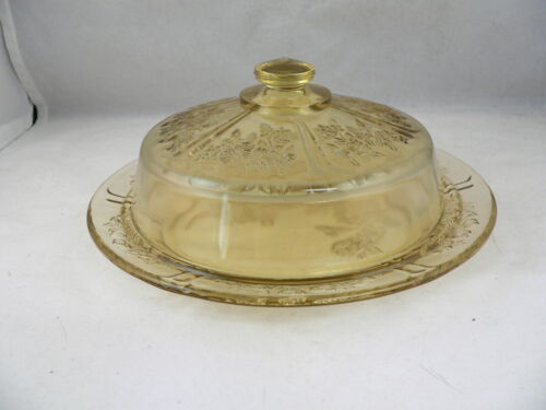 """SHARON """"CABBAGE ROSE""""  AMBER CHEESE DISH and COVER-----FEDERAL GLASS COMPANY"""