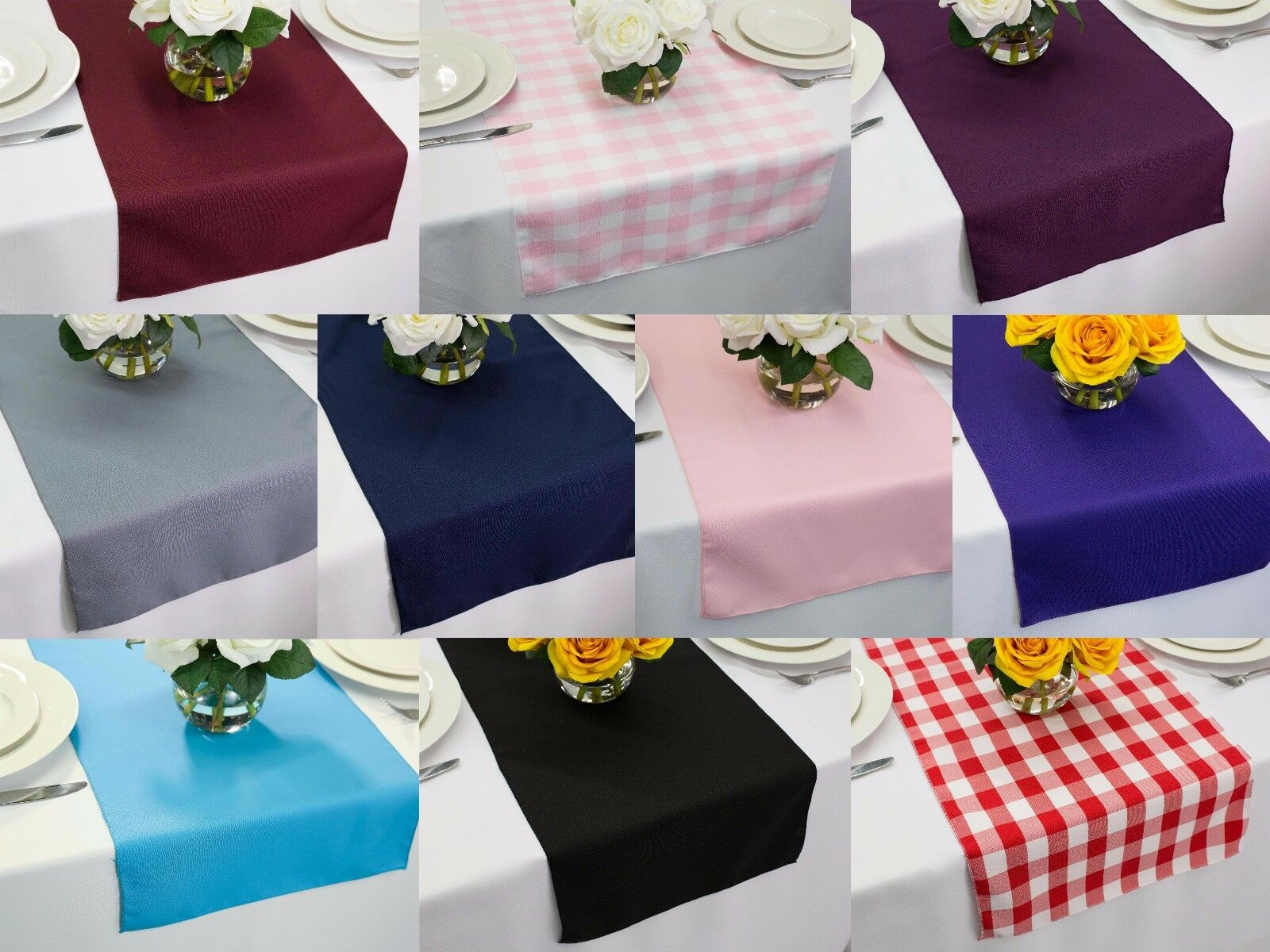 14 x 60 inch Polyester Table Runners, Multiple Colors & Mult