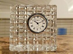 Waterford Crystal 3 x 3 Quadrata Cube Cut Square Desk Clock, Brand New Battery