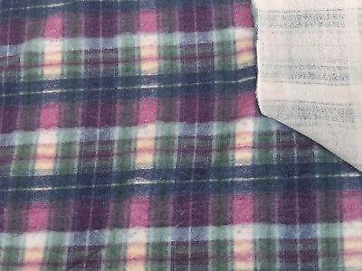 Plaid Print Cotton Blend Fleece Fabric by the Yard 12/17 Cotton Fleece Fabric