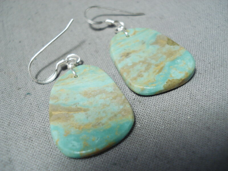 SUPERB SANTO DOMINGO ROYSTON TURQUOISE SLABS STERLING SILVER EARRINGS