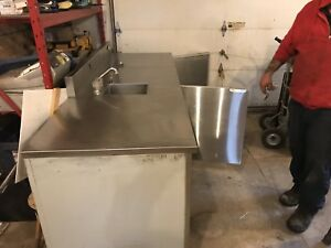 Stainless steel cooler sink and drawer unit