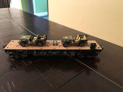 MENARDS O-GAUGE U.S. ARMY FLATCAR w/ ARMYJEEPS