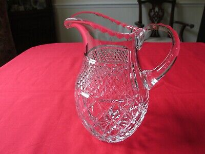 HEAVY CUT CRISS CROSS & DIAMOND POINT CLEAR LEAD CRYSTAL WATER PITCHER 7 1/2""