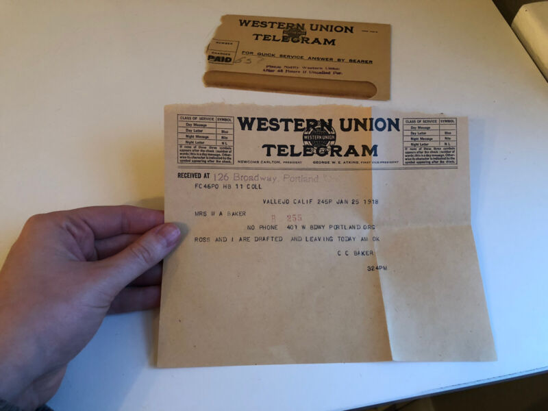 1918 Western Union Telegram Draft Notice Portland Oregon Vallejo California