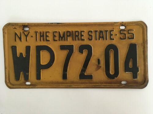 1955 New York License Plate Single Plate Year (no pairs) ALL ORIGINAL