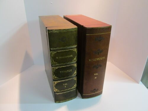 Large Leather Faux Book Storage Boxes