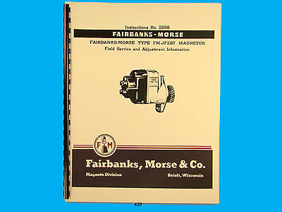 Fairbanks Morse Magneto Instruct Parts Manual For Fm-jf2b7 Mags 429