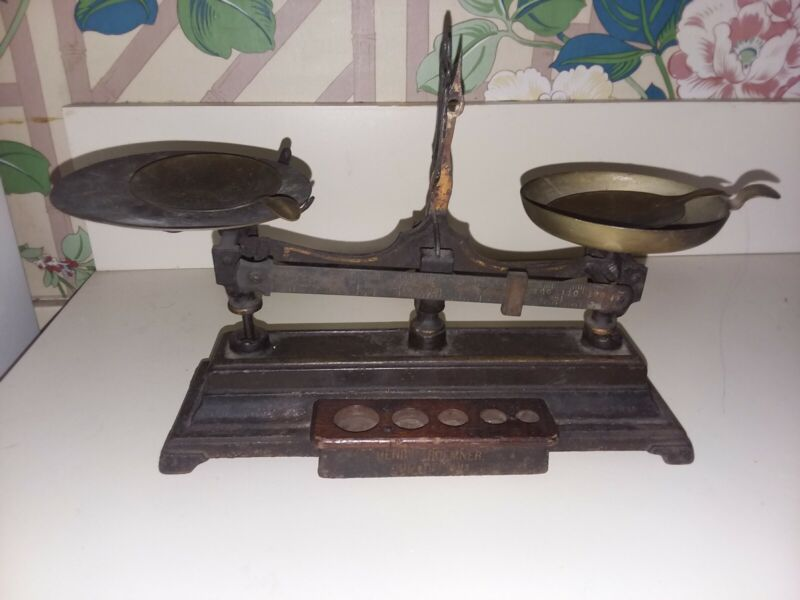 ANTIQUE HENRY TROEMNER APOTHECARY BALANCE SCALE