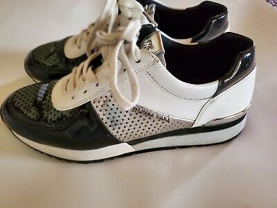 Michael Kors Black White Silver Star Detail Sneakers Size 8