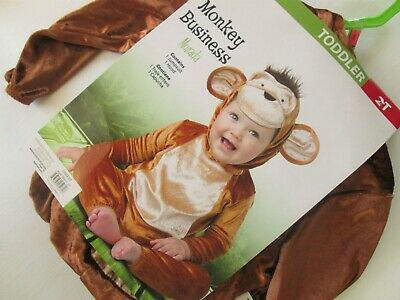 Toddler MONKEY BUSINESS Costume 2T NEW Jumpsuit & Hood with Plush Tuft 2pc KIDS](Monkey Costume 2t)