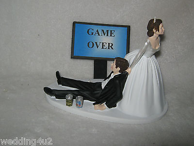 Wedding Reception Party Cake Topper Beer Cans~ Game Over Sign Dark Hair Couple - Wedding Reception Games
