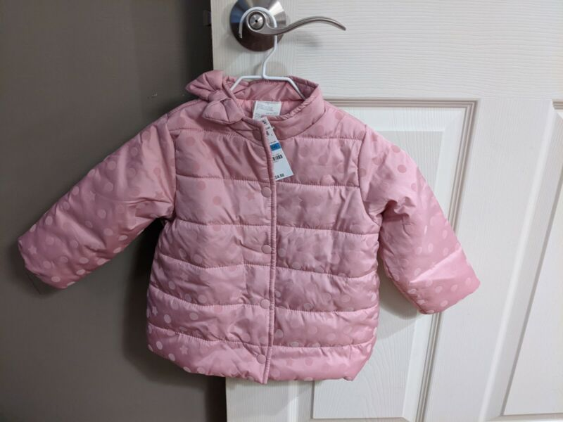NWT First Impressions Baby Girls Pink Dot Puffer Jacket Coat Size 24 Months