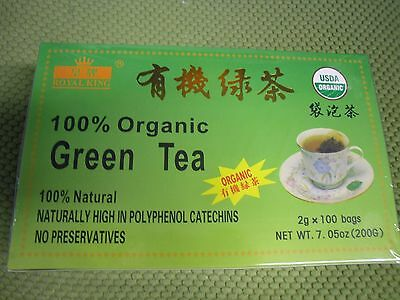 Unsophisticated ! NEW 100 Bags Royal King 100% Natural Organic Green Tea USDA CERTIFIED