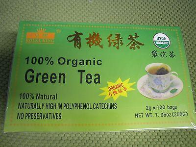 Novel ! NEW 100 Bags Royal King 100% Natural Organic Green Tea USDA CERTIFIED