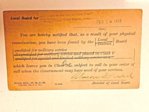 WAR DEPT DRAFT NOTICE 1918 CEDAR RAPIDS, IA  POSTCARD