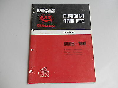 LUCAS Parts List 1968  HILLMAN HUMBER SINGER SUNBEAM COMMER KARRIER Rootes
