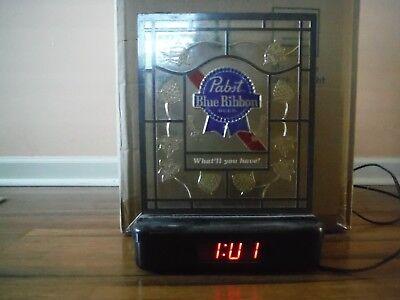 Vintage Pabst Blue Ribbon Beer Lighted Plastic Digital Clock Sign PBR, used for sale  Dallastown