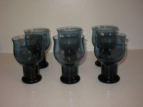 SET of 6 VINTAGE 1970s Mid Century Lenox INDIGO BLUE Water Wine Glasses Tumblers