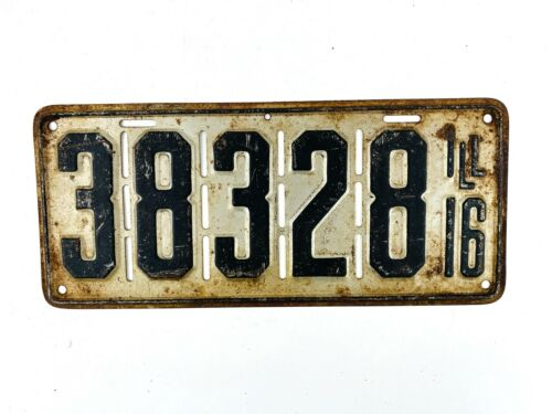 Illinois 1916 Vintage License Plate Slotted Front Antique Car Tag Man Cave Decor