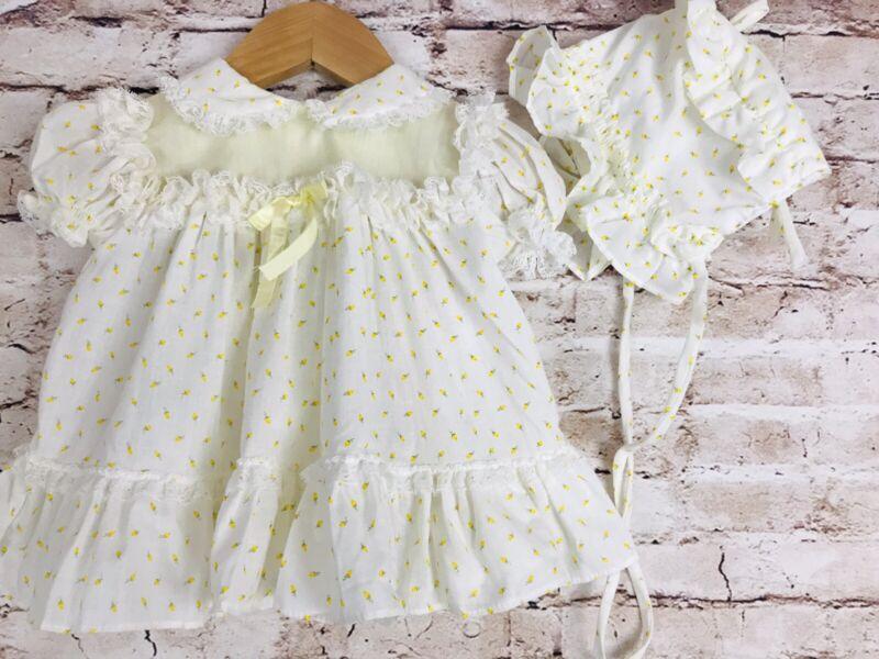 Vintage Bryan Baby Dress Yellow White Rose Bud Floral Ruffle Lace Bonnet M
