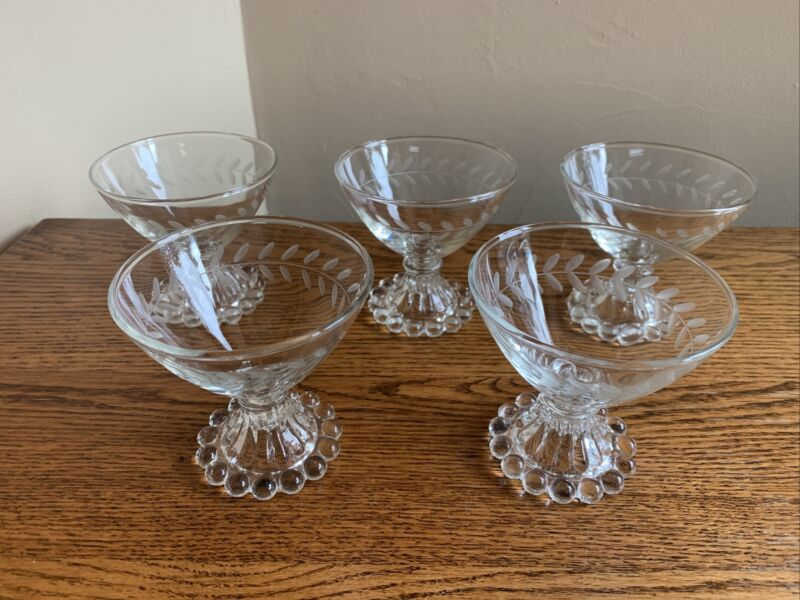 SET OF 5 Anchor Hocking BOOPIE CLEAR Bubble Etched Champagne/Sherbet Glasses
