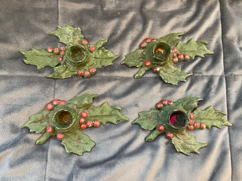 Antique Candle Holders Cast Iron Christmas Holly & Berries 1920