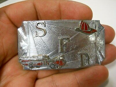 Old Vintage Salem Fire Department belt buckle neat enameled emblems all metal