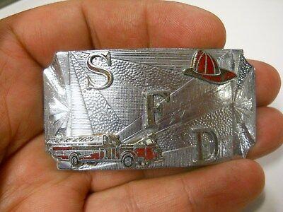 Old Vintage Salem Fire Department belt buckle neat enameled emblems all metal