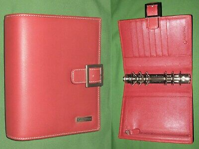 Compact 1.25 Red Leather Franklin Covey Planner Open Binder Organizer 2196