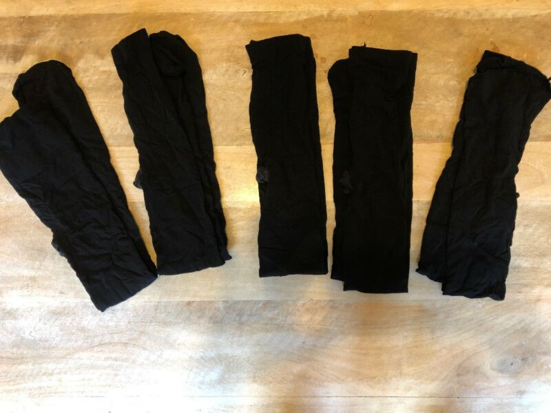 Lot Of 5 BALERA Dancewear Ballet Dance Girls BLACK Footed Tights Size Large