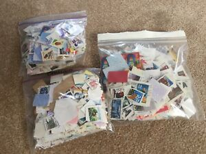 3 full bags stamps worldwide