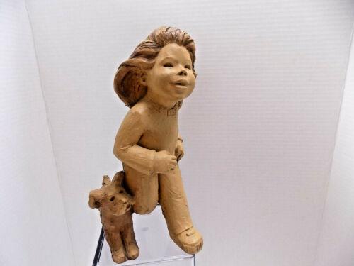Little Girl Running w Dog STUDIO ART SCULPTURE CLAY Lee Bortin Chicago USA