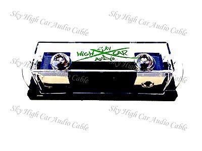 Sky High Car Audio Set Screw Anl Fuse Holder Green Logo Nickel Plated