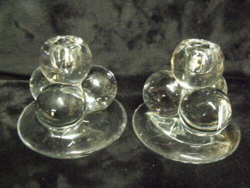 ANTIQUE ART DECO GLASS BALL CLUSTER CANDLESTICK PAIR