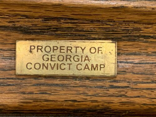 PROPERTY OF GEORGIA CONVICT CAMP, SOLID BRASS STAMPED PLAQUE/BADGE NICE PATINA