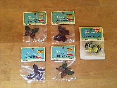 Bee Craft - Vintage Fibre-Craft Cloth Butterflies & Chenille Bumble Bees - Lot of 5 Packages