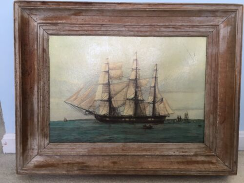 Large Antique wooden frame 28x22 with print of USS Constitution ship