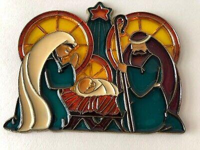 Stained Glass Nativity (VTG Stained Glass Holy Family Nativity Scene SUNCATCHER Baby Jesus Mary &)