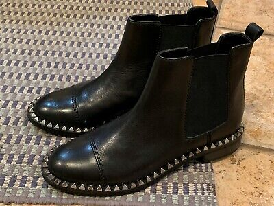 Zara Silver Boots (ZARA WOMAN 1466 BLACK LEATHER ANKLE BOOTS 6 36 M SILVER STUD SPIKE PUNK GOTH)