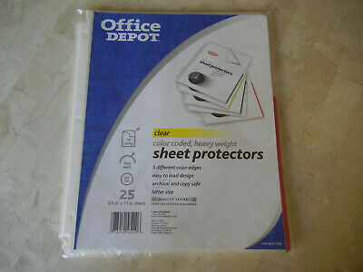 Office Depot Color-coded Heavyweight Sheet Protectors 25 Pack 233-240