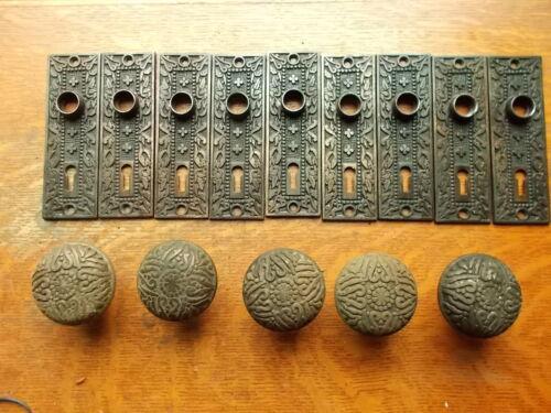 Lot of Antique Victorian Passage Doorplates & Doorknobs Mallory Wheeler  c1885