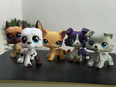 5lot Littlest Pet Shop LPS Great Dane Dog Collie Short Hair Cat Collection Rare