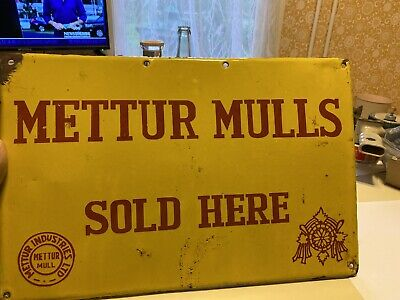 A Vintage Porcelain Advertising Sign Mettur Mulls Fabrics Sign 1950's