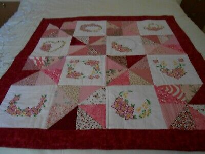 PATCHWORK AND MACHINE EMBROIDERED QUILT