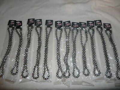 12 NEW BRUSHED STEEL LARGE BALL LINK NECKLACE 52CM/MENS JEWELLERY.BIKER/PUNK