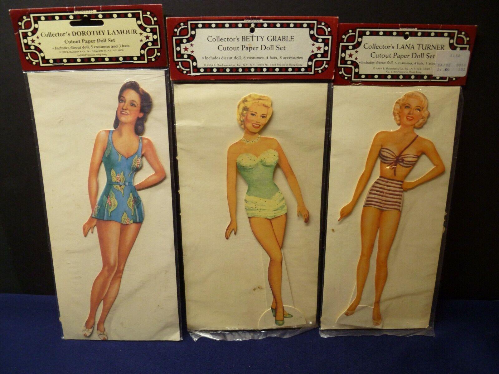 Sealed 1994 Collector s Celebrity Paper Dolls 3 Sets Grable, Turner, Lamour - $9.95