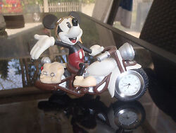 Extremely Rare! Walt Disney Mickey Mouse on Motorbike Table Clock Small Statue